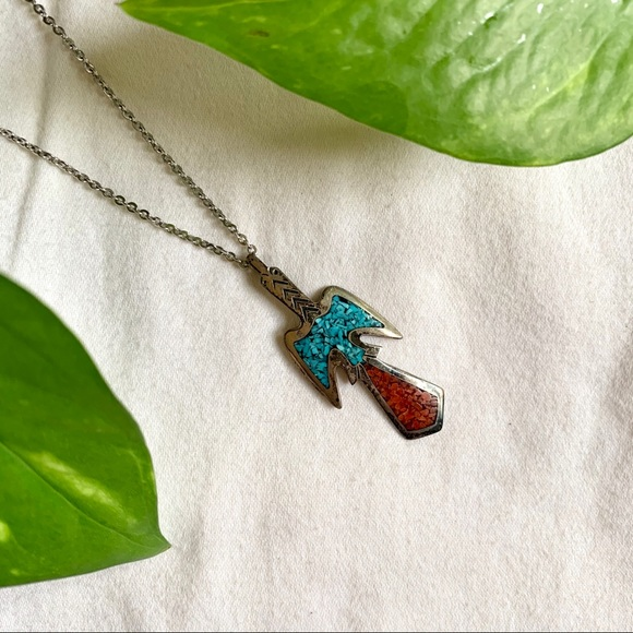 SARAH COV VINTAGE Silver Turquoise Necklace